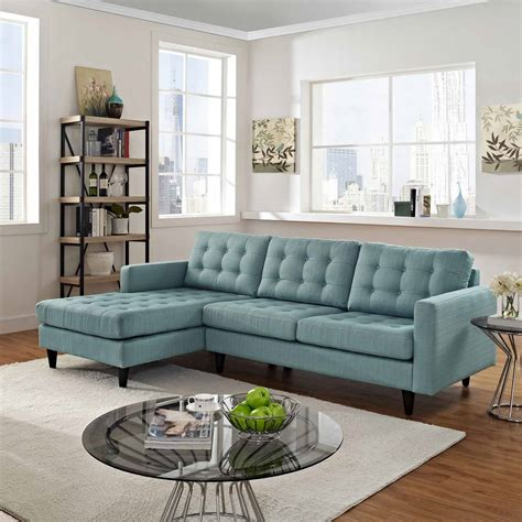 Modway Furniture Empress Light Blue Fabric Sectional With