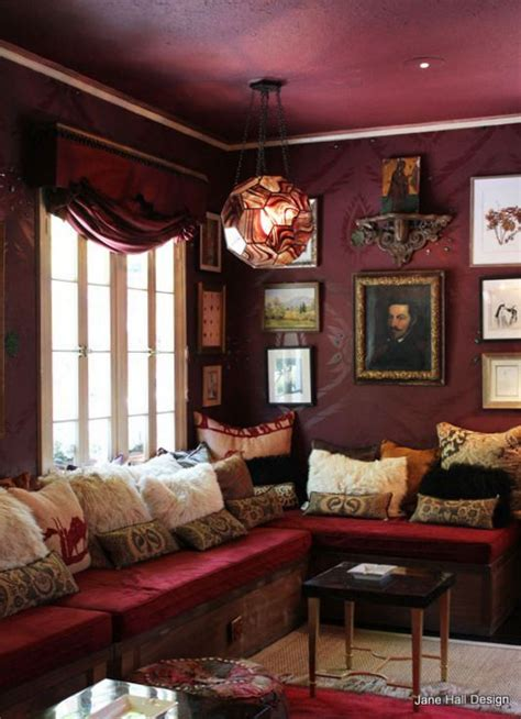 Living Room Paint Colors With Burgundy Furniture by Bohemian Style Living Room With Garnet Upholstery And