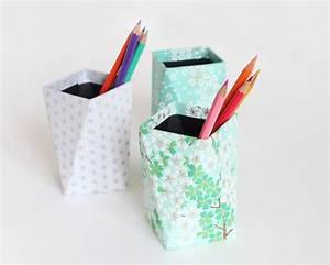 Pot A Crayon : diy pots crayons g ometriques papier japonais adeline klam cr ations ~ Teatrodelosmanantiales.com Idées de Décoration