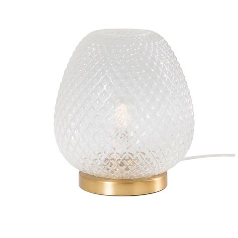 lampe en verre strie  metal dorelampe  poser xxcm maisons du monde