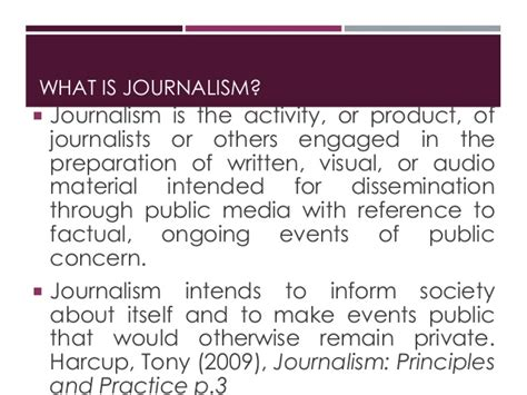 Journalism Definition by Week 1 Definition And Forms Of Journalism