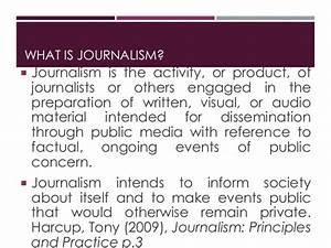 Week 1 Definiti... Journalism Definition