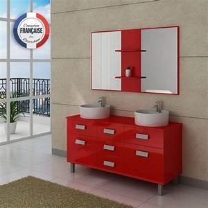 Meuble Salle De Bain Moderne : meuble de salle de bain double vasque rouge meuble de ~ Nature-et-papiers.com Idées de Décoration