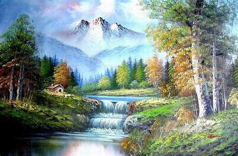 Cheap Vivid Freehand 10 Bob Ross Landscape Painting In Oil
