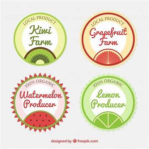 Round collection of fruit juice labels Vector | Free Download