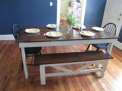 farmhouse table stained top white legs bench  match