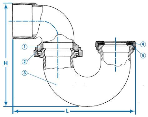 p trap size for kitchen sink trap q 2 quot x 1 1 2 quot la trap sweat less cleanout 9032