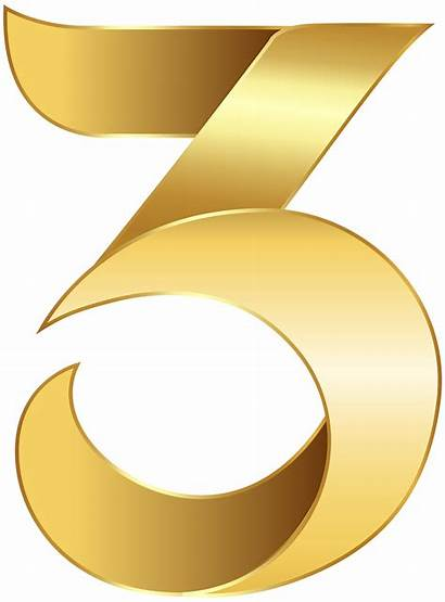 Transparent Number Clip Clipart Three Golden Numbers