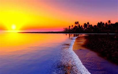 Sunset Purple Reflection Beach Sand Wallpapercanyon