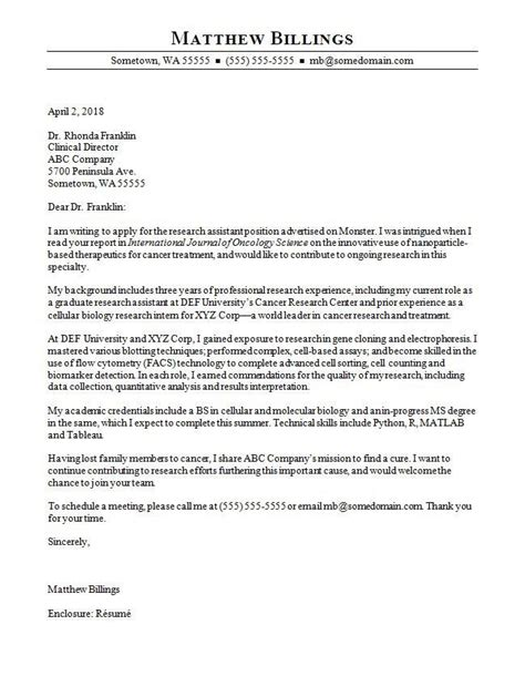 cover letter template research assistant 2 cover letter