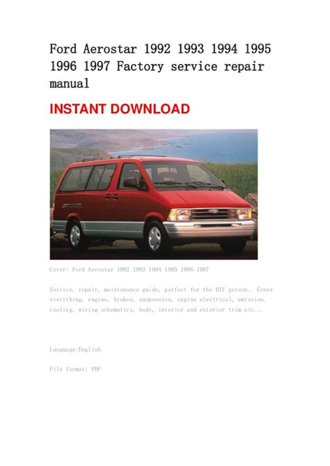 where to buy car manuals 1994 ford aerostar parental controls ford aerostar 1992 1993 1994 1995 1996 1997 repair manual