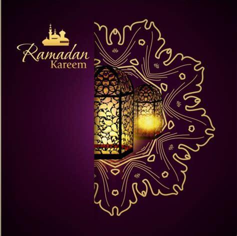 ramadan kareem purple backgrounds vector set  ramadan