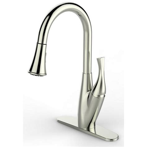pull kitchen faucet brushed nickel runfine single handle pull down sprayer kitchen faucet in brushed nickel rff0001b the home depot