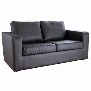 pine sofa bed 2 seater fold out bed pu leather black With leather fold out sofa bed