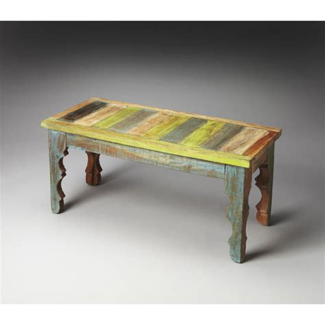 Hand Painted Wood Bench Bellacor