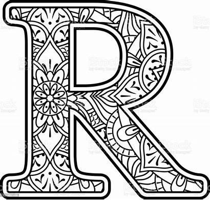 Mandala Letter Coloring Abstract Alphabet Doodle Elements