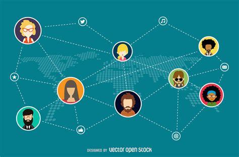 3f si鑒e social ilustração rede social baixar vector