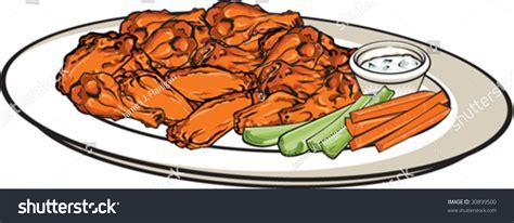 Platter Buffalo Wings Stock Vector 30899500