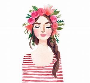 Print of Flower crown girl original watercolor painting. Pink