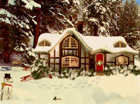 Snowy Cottage Animated Wallpaper - 3d snowy cottage animated wallpaper windows 7