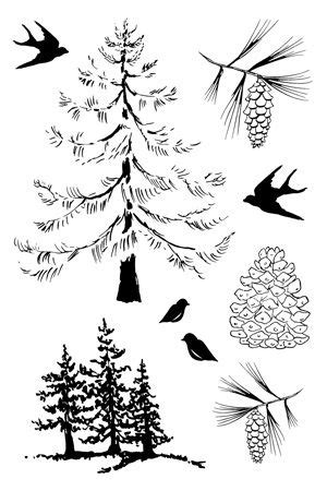 Woods in Winter Unmounted Rubber Sheet | Stamped christmas