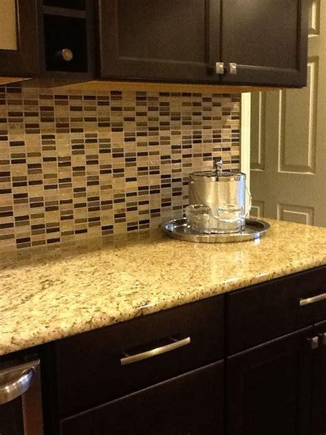 Kitchen Countertop And Backsplash Combinations by Glass Tile Backsplash Venetian Gold Granite Countertop