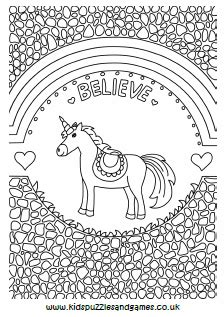 unicorn  rainbows mindful colouring kids puzzles  games