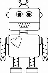 Robot Coloring Heart Pages Printable Cartoon Categories Clipartmag sketch template