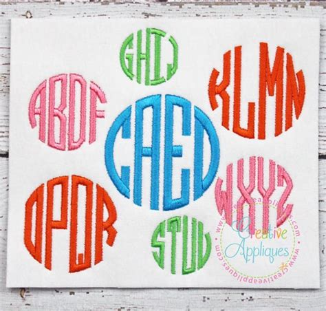 4 letter circle monogram by craftylittlenodes circle 4 letter monogram embroidery alphabet font 83699