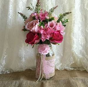 pink burlap and lace covered mason jar vases wedding With lace decorations for wedding