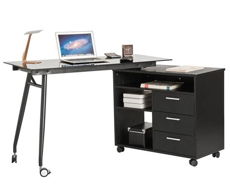 portable computer desk on wheels l shape black glass portable office desk computer pc