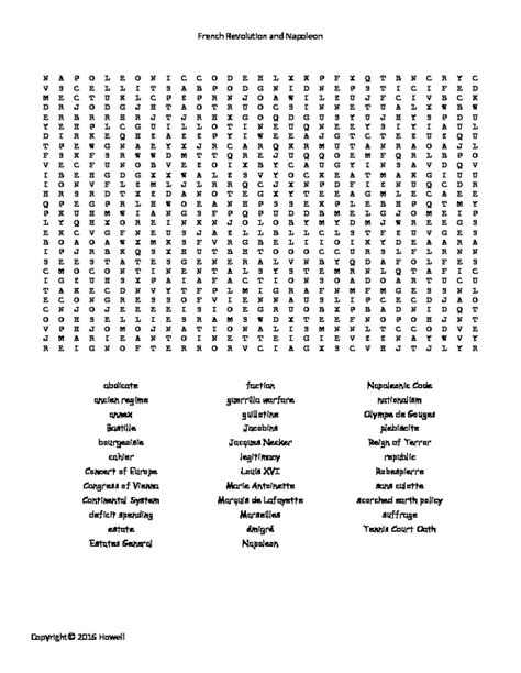 the revolution and napoleon word search for world