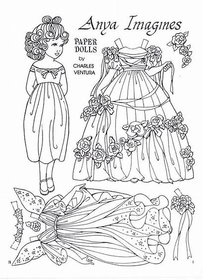 Dolls Paper Coloring Doll Pages Colouring Printable