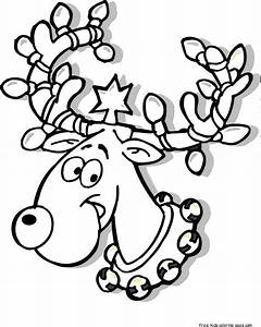 Printable Christmas Reindeer in Lights coloring pages for ...