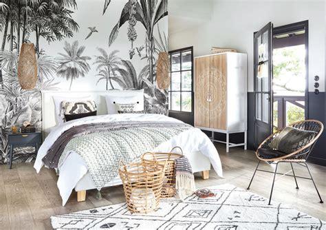 papier peint imprime jungle noir  blanc  paradise maisons du monde