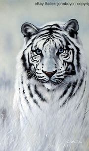 Painting: White Tiger Blue Eyes Big Cat Portrait ...