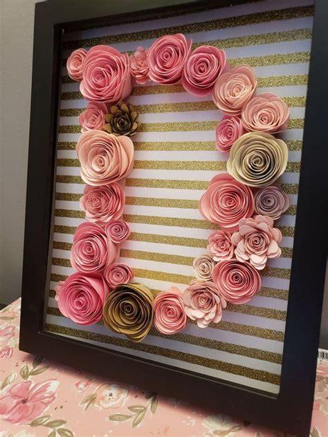 paper flower letter paper flower monogram custom paper flower nursery decor girls nursery