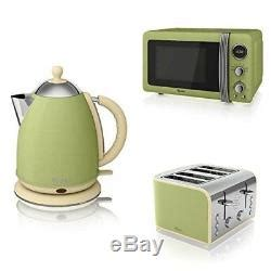 Green Kettle And Toaster Set - swan strp1050gn kettle toaster and microwave kitchen set