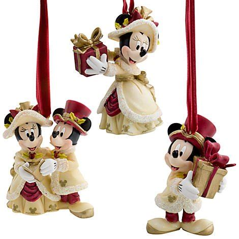 minnie  mickey mouse holiday ornament set christmas