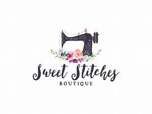 Sewing logo premade floral sewing machine logo design 229