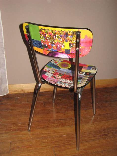 chaises formica chaise formica relookée en papier collé multicolore a vendre customisation de vieilles