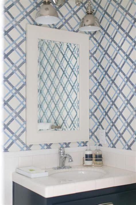 lattice wallpaper contemporary bathroom
