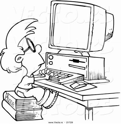 Computer Coloring Pages Cartoon Boy Drawing Using