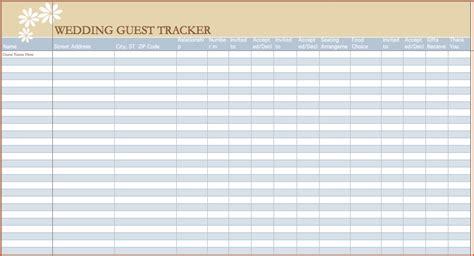 wedding guest list template excel bookletemplateorg