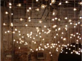 vertically hanging globe string lights the day
