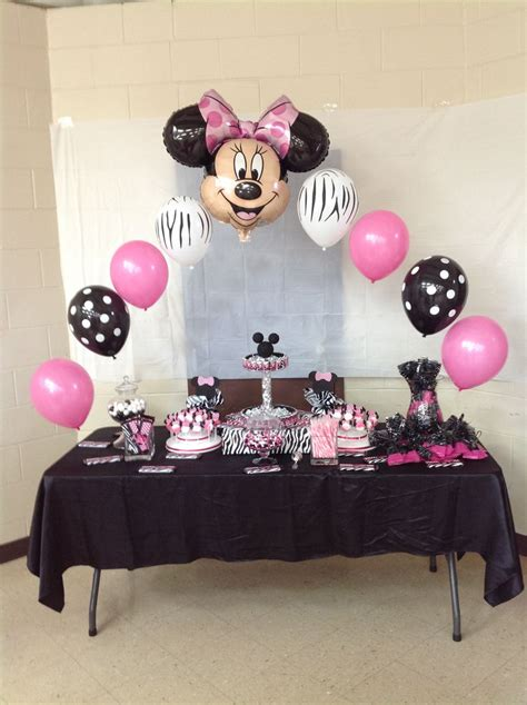 minnie mouse baby shower decorations ideas buffett table minnie mouse baby shower