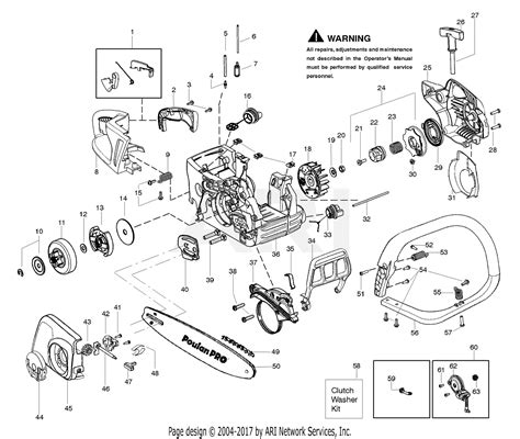poulan smavx gas  parts diagram  handle chassis