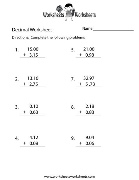 decimal addition worksheet  printable educational