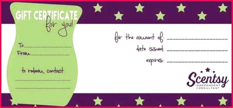scentsy gift certificates template  fabtemplatez