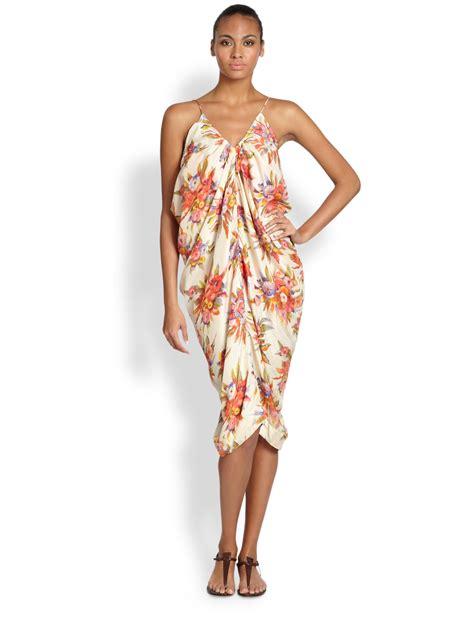 zimmerman silk drape dress lyst zimmermann silk instinct draped dress